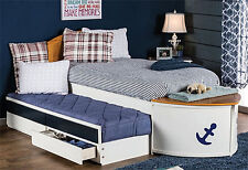 NEW STARBOARD WHITE & OAK FINISH WOOD CAPTAIN'S TWIN BED w/ TRUNDLE & DRAWERS