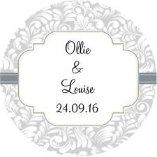 24  PERSONALISED, WEDDING FAVOUR STICKERS, SILVER/ IVORY GLOSS FINISH (SC4)
