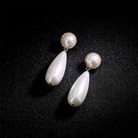Boucles d'oreilles Clous Doré Art Deco Rond Goutte Long Perle Blanc Class DD13