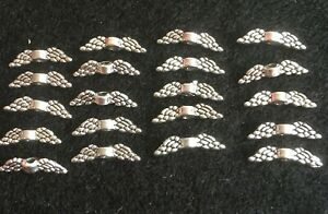 20 x Tibetan Antique Silver Metal Wings Jewellery Making Supplies Crafts 12x3mm