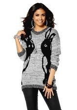 Mehrfarbige Grobe Damen-Pullover & Strickware mit Hüftlang ohne Verschluss