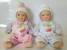 "Two Miniature porcelain/ceramic dolls. About 4"". Boy Girl Babies Twin Overalls"