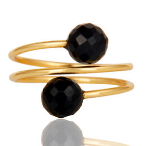 Black Onyx Unique Wiring Designer Brass Ring 18k Gold Plated Jewelry