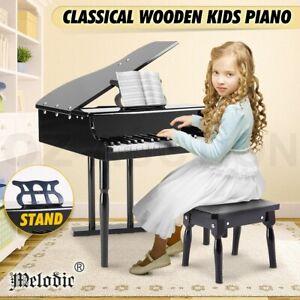 Melodic Wooden Kids Grand Piano Children Mini Musical Toy 30 Key Piano w/Bench