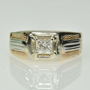 Gents Mens 14k Yellow White Gold 3/8Ct Princess Diamond Solitaire Estate Ring
