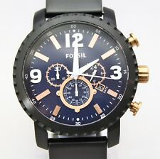 New Fossil BQ2011 Nate Blue Dial Chronograph Black StainlessSteel Band Men Watch