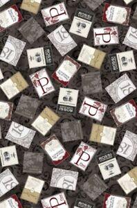 Wine Connoisseur Fabric - Label Toss on Gray - Kanvas Benartex YARD