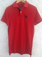 Abercrombie & Fitch Músculo Rojo para Hombres Polo Camisa Top Tamaño Mediano