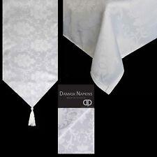 Damask Jacquard Print Tableware - Tablecloths, Runners, Napkins - White