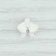 Nuevo Auténtico PANDORA Blanco Orquídea Charm 792074EN12 Plata de Ley Rosa Cz