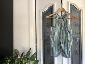 Vintage Pumpkin Patch Cotton Stripes Overalls Size 1 Blue Green Dungarees Retro