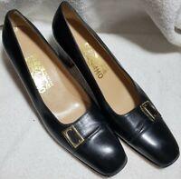 Salvatore Ferragamo Leather Heels Pumps Black w Buckle Womens Size 8.5 AAA EUC