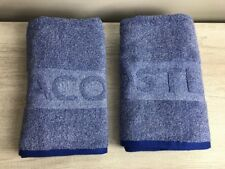 LACOSTE Bath Towels Blue white with engraved  letters Brand New Heathered Towel