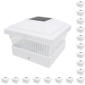 18 White 5 x 5 Solar LED Post Light Deck Cap Fence Landscape Lamp PVC Vinyl Wood