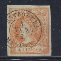 ESPAÑA (1860/61) USADO SPAIN - EDIFIL 52 (4 cu) ISABEL II - LOTE 8