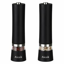 Aicok Salt and Pepper Grinder, Electric Stainless Steel Pepper Mill and Salt LED
