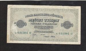 500 000 MAREK FINE BANKNOTE FROM  POLAND 1923 PICK-36 RARE