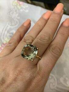 14K Gold Plated 925 Sterling Silver Green Amethyst Ring Size 8. NWT!
