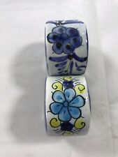 New listing Napkin Holders Set of 2 Ceramic Blue White Yellow Floral Glaze Kitchen Decor