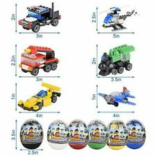 6-Pack Large Plastic Easter Eggs Prefilled Kid Toy Building Brick Various Car