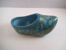 Pretty Ceramic Pottery Shoe Clog Blue Green Signed Eb