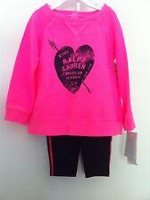 Ralph Lauren Infant Girls 2 Pc Hot Pink Pullover/Navy Leggings Size 6M NWT