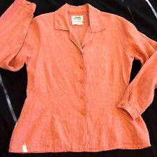 FLAX Engelhart sz Small  Button Front Fitted Long Sleeve Blouse Nubby 100% Linen