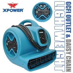 XPOWER X-600A The Best 1/3HP Industrial Air Mover Fan w/ GFCI Power Outlets