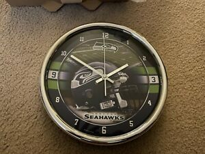 "SEATTLE SEAHAWKS CHROME 12"" ROUND WALL CLOCK NFL FOOTBALL MAN CAVE"