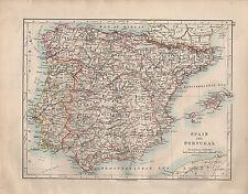 Mapa de España & Portugal 1914 ~ ~ Islas Baleares Granada Leon Barcelona