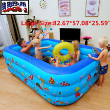 Large Inflatable Swimming Pool Rectangular Family Kid Family Fun Outdoors