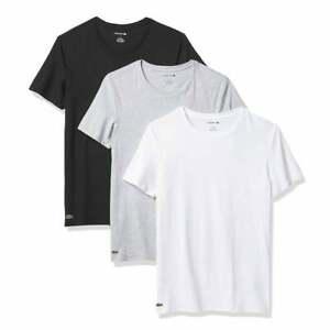 Men Lacoste Essentials Cotton 3-Pack Crew Neck T-Shirt, White/Silver Chine/Black