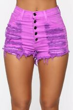 Distressed High Rise Waisted Shorts Stretch Denim Pink Purple Pockets Medium M
