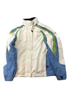 Spyder Youth Unisex White/Blue/Green XT Insulated Winter Ski Jacket Sz 16