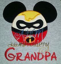 Personalized Mr Incredible Mousehead T-shirt machine embroidered