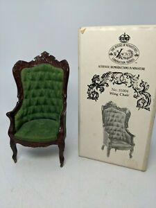 Dollhouse 1:12 Miniature Early American Winged Armchair with original box