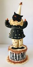 Dee Foust for Bethany Lowe Halloween Clown w/ Black Cat Mask on Round Charms Box