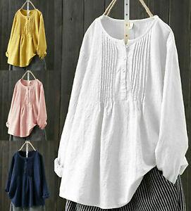 UK Women Summer long Sleeve Baggy Tops Ladies Cotton linen T-shirt Blouse