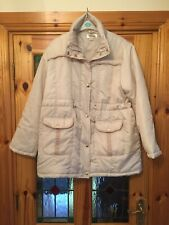 GABRIELLA VICENZA ITALY DESIGNER WOMENS CREAM COAT SIZE 16/ 18 PADDED With Hood