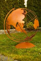 Edelrost Globus Weltatlas Weltkugel Skulptur Metall Metalldeko Gartendeko