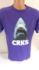 Crooks and Castles Mens Shark T-Shirt Size Medium Gold Tooth Jaws CRKS Purple