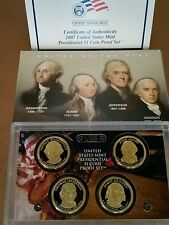 2007 Us Mint Presidential $1 Coin Proof Set - Washington Adams Jefferson Madison