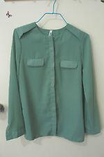 Women's Size M, lovely chiffon green crew neck button up shirt, long sleeve