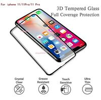For iPhone 11 Pro 11 Max 3D Full Glass Cover Screen Protector Tempered Glass