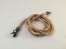Long Gold Serpentine Snake Chain Lariat Necklace Belt Black Head Crystals