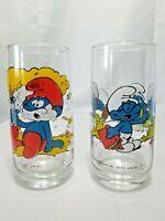 Set Of 2 Vintage 1982 Smurf Glasses, Papa And Brainy Smurf