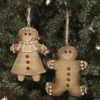 Primitive/Country  3.25 2PC SET GINGERBREAD BOY/GIRL RESIN ORNAMENT