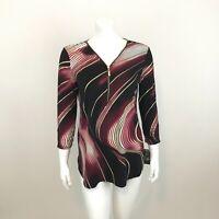 JM Collection Zip Neckline Tunic Top Womens S Rachel Wave 3/4 Ruched Sleeve
