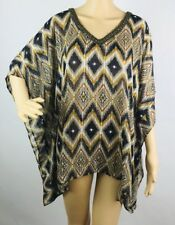 Chico's Blouse Top Shirt Small Medium Blue Gold Argyle Sparkle Kimono Sleeve New
