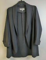Daniel Rainn Womens M Jacket Black Open Front Blazer Shawl Collar Pockets